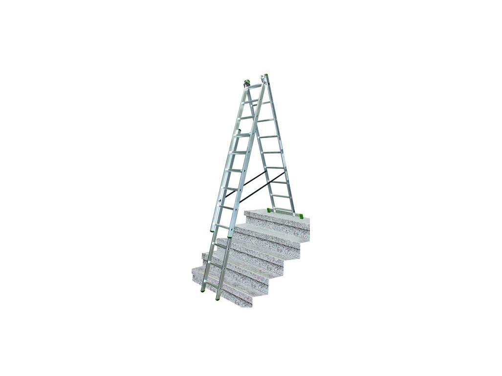 PROTECO 10.66-S-3-07-KR žebřík trojdílný 3x7 s úpravou na schody 195/310/420 cm