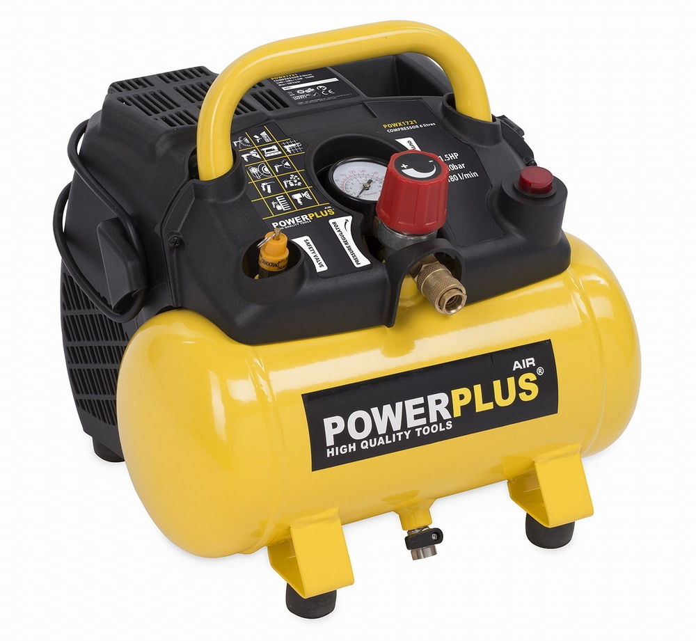 POWERPLUS X POWX1721 - Kompresor 1100W 6L 8bar bezolejový