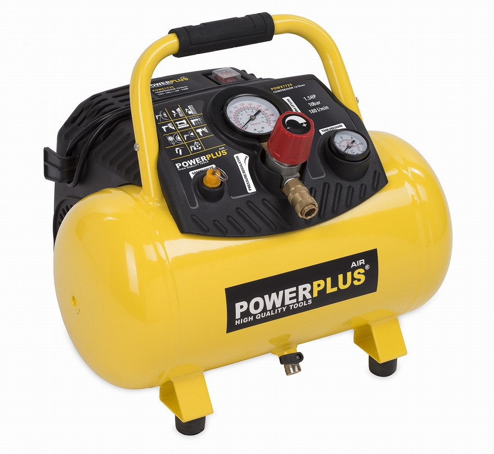 POWERPLUS X POWX1723 - Kompresor 1100W 12L 10bar bezolejový