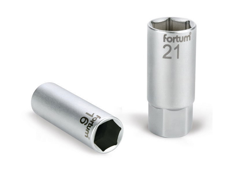 """FORTUM Hlavice nástrčná na zapalovací svíčky, 1/2"""", 21mm, L 65mm, 61CrV5,"""