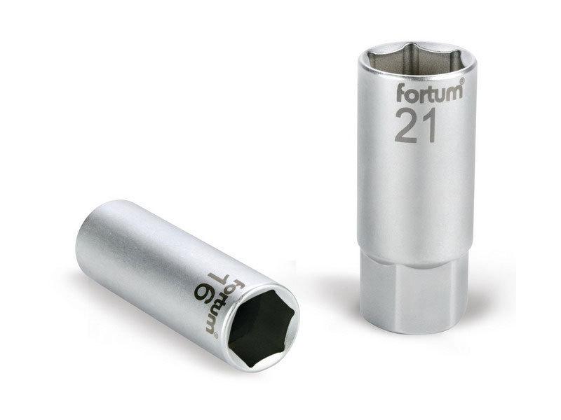 """FORTUM Hlavice nástrčná na zapalovací svíčky, 1/2"""", 21mm, L 65mm, magnet, 61CrV5,"""