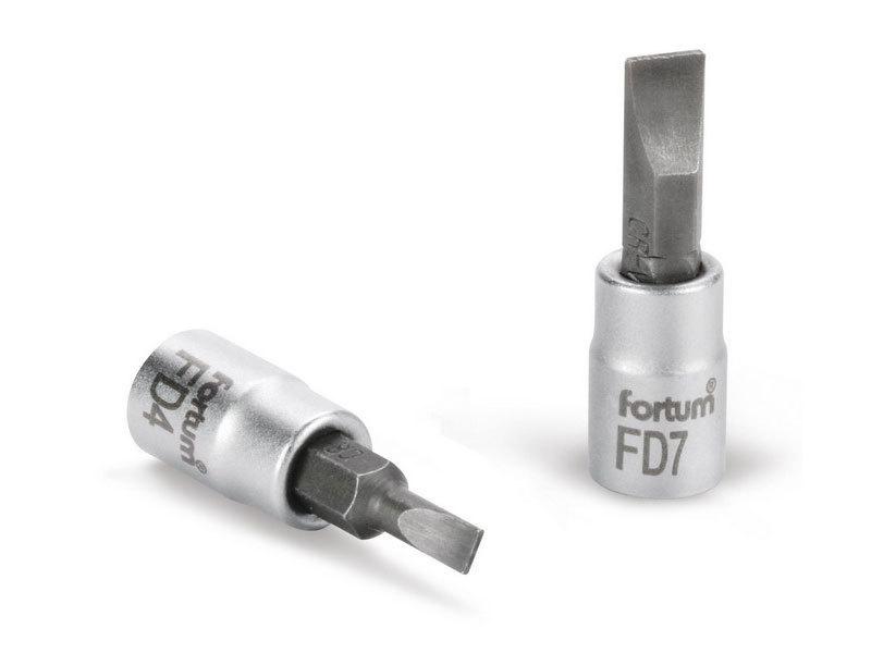 """FORTUM Hlavice zástrčná šroubovák plochý, 1/4"""", 7mm, L 37mm, CrV/S2,"""