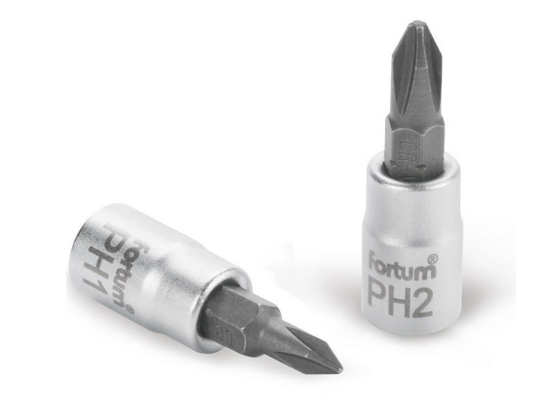 """FORTUM Hlavice zástrčná šroubovák PH, 1/4"""", PH 2, L 37mm, CrV/S2,"""
