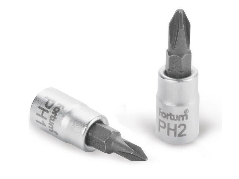 """FORTUM Hlavice zástrčná šroubovák PH, 1/4"""", PH 3, L 37mm, CrV/S2,"""