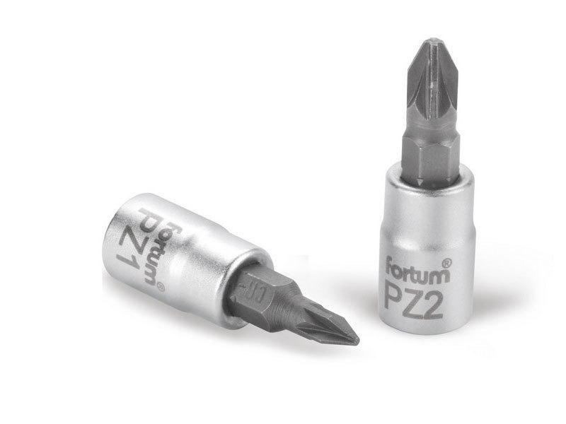 """FORTUM Hlavice zástrčná šroubovák PZ, 1/4"""", PZ 2, L 37mm, CrV/S2,"""