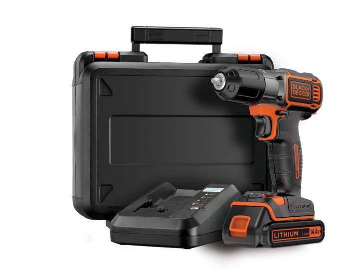 Black & Decker ASD14K Vrtačka/šroubovák 14,4 V s technologiemi Autosense™ a Autoselect® včetně baterie, nabíječky 90min a kufru