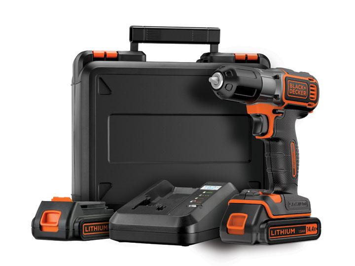 Black & Decker ASD14KB Vrtačka/šroubovák 14,4 V s technologiemi Autosense™ a Autoselect® včetně 2 baterií, nabíječky 90min a kuf