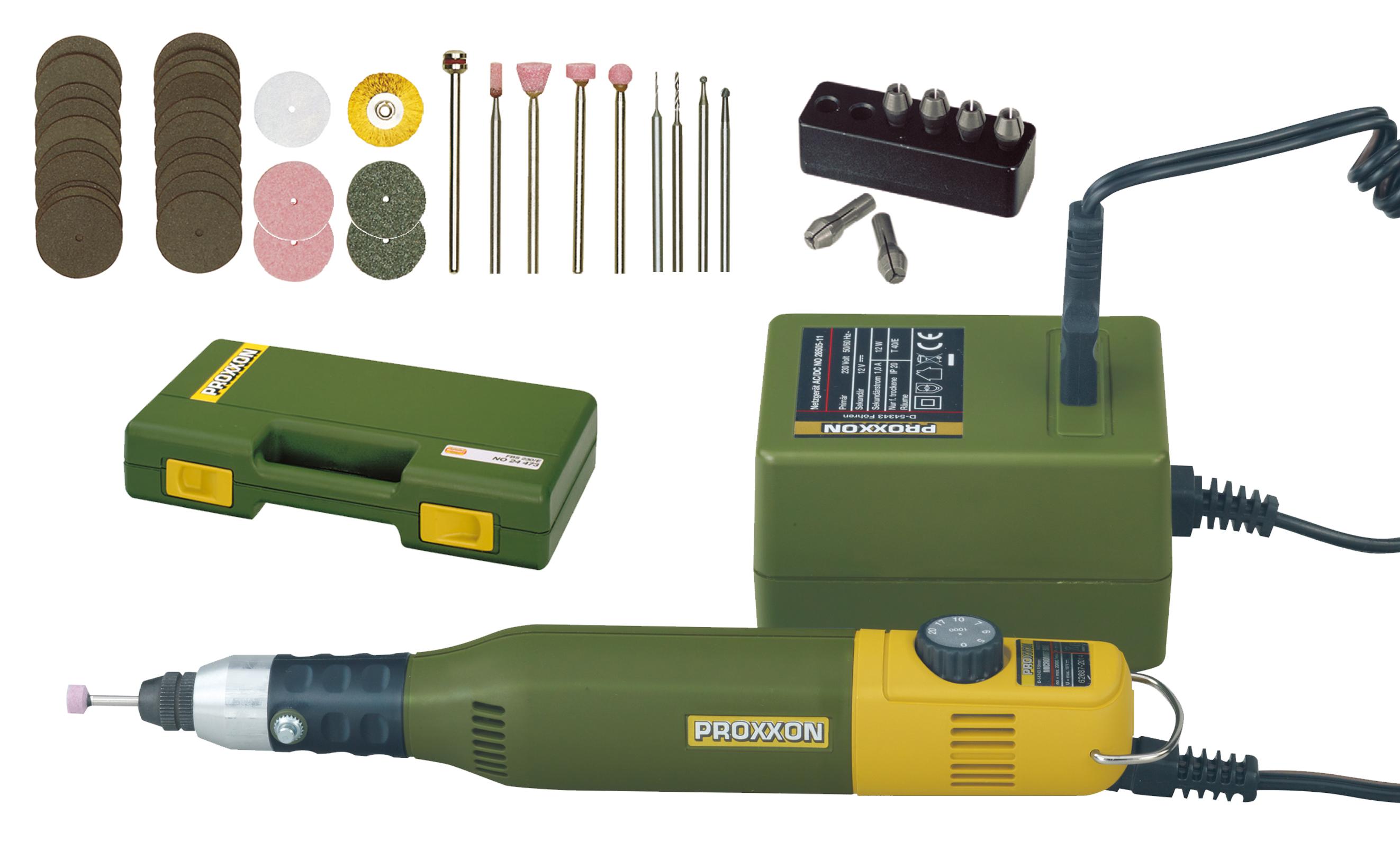 PROXXON 28515 sada MICROMOT 60/E, síťový zdroj a 34 nástrojů