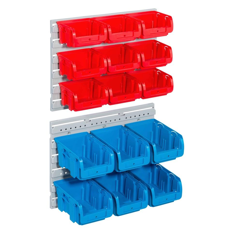 Allit 457120 Sada 15 zásobníků s 2 držáky na zeď Sada ProfiPlus> C <1 + 2/17, ro / bl