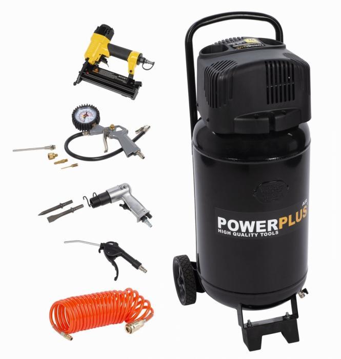 POWERPLUS AIR POWERPLUS POWX1751 kompresor 1100W 50L + 9 ks přísl. bezolejový