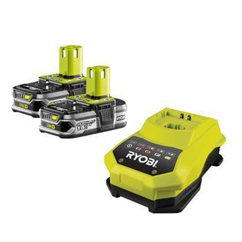 RYOBI - nářadí RBC18 LL15 - sada 2x 18 V lithium iontová baterie 1,5 Ah s nabíječkou