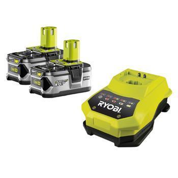 RYOBI - nářadí RBC18 LL40 - sada 2x 18 V lithium iontová baterie 4,0 Ah s nabíječkou