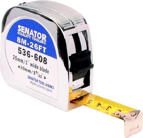 SENATOR Metr svinovací v chromovaném pouzdře 7,5 m / 25 mm