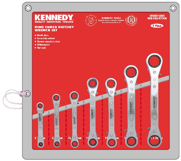 KENNEDY Sada klíčů očkových račnových s páčkou 7ks