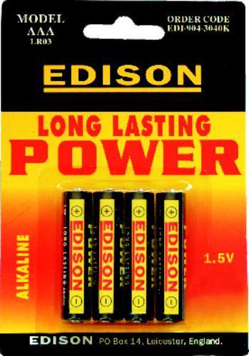 EDISON Baterie alkalické AAA 1,5 V / 4 ks