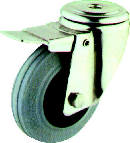 ATLAS Kolečka pojezdová z šedé pryže - otočný typ s otvorem pro šroub 125 mm