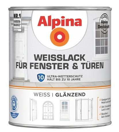 Alpina univerzální email na kov a dřevo 0,75L bílý lesk