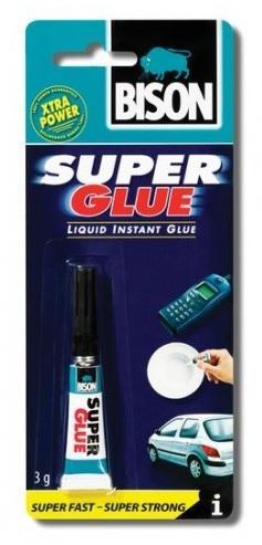 Bison Super Glue 3ml Velmi univerzální kvalitní tekuté kyanoakrylátové lepidlo