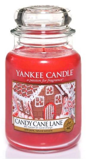 YANKEE CANDLE Vonná Svíčka Candy Cane Lane CLASSIC VELKÝ Cestička z lízátek