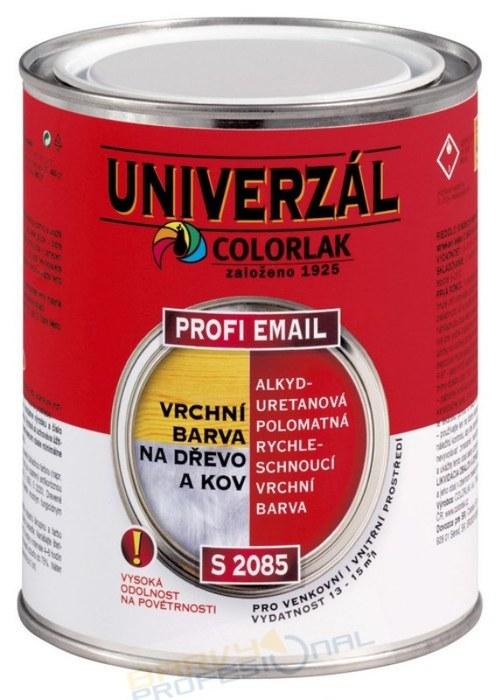 COLORLAK PROFI EMAIL S 2085 / RAL 9005 Černá / 0,6L alkyduretanová rychleschnoucí vrchní barva na kov i dřevo
