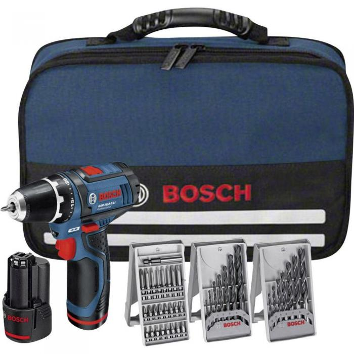 Bosch GSR 10,8-2-LI + 39dílná sada příslušenství