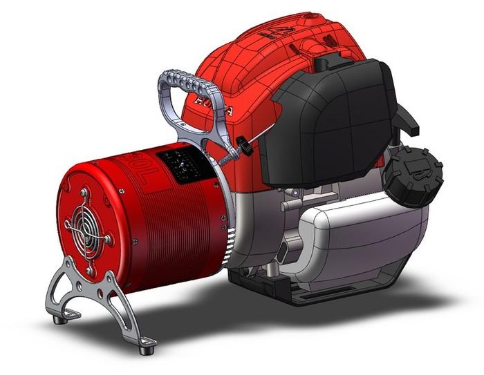 HONDA Generátor GX30L- pro dobíjení akumulátorů, vodotěsný pytel a univerzální konzole pro montáž a transport.