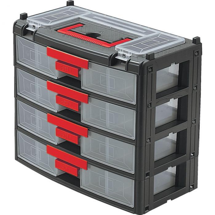 KENNEDY Plastová skříňka na součástky se 4 zásuvkami 390 x 200 x 340 mm