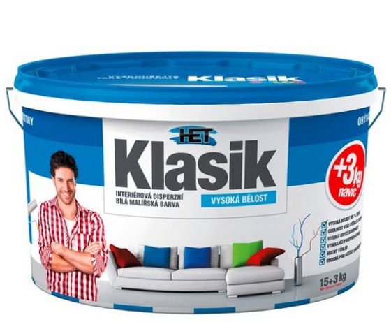 HET Klasik bílá interiérová barva 15+3 kg (18 kg)