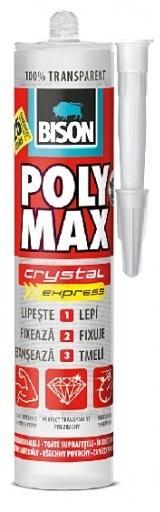 BISON POLY MAX crystal express 300g Čiré rychleschnoucí montážní lepidlo na bázi MS Polymeru