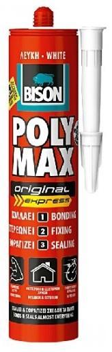 BISON POLY MAX original express 425g Bílé rychleschnoucí montážní lepidlo na bázi MS Polymeru