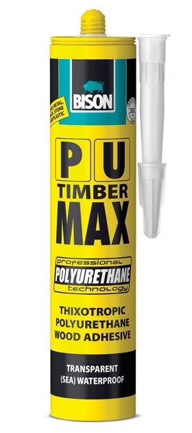 Bison PU Max 310ml kartuš - Vysokopevnostní rychleschnoucí gelové polyuretanové lepidlo na dřevo D4