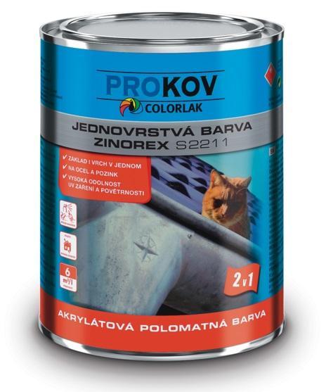 COLORLAK ZINOREX S 2211 / C0992 Kovářská šedá / 9L akrylátová polomatná jednovrstvá barva na ocel a zinek