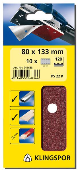 KLINGSPOR Brusný papír na suchý zip 115 x 230 mm / 10 ks