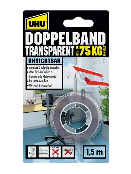 UHU doppelband TRANSPARENT 75KG transparentní pevná oboustranná lepící páska